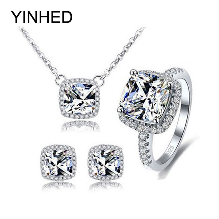 Like and Share if you want this  YINHED 925 Sterling Silver Bridal Jewelry Sets Top Quality AAA+ 4ct CZ Diamond Wedding Stud Earrings Necklace Ring Sets ZSH008     Tag a friend who would love this!     FREE Shipping Worldwide     Buy one here---> http://jewelry-steals.com/products/yinhed-925-sterling-silver-bridal-jewelry-sets-top-quality-aaa-4ct-cz-diamond-wedding-stud-earrings-necklace-ring-sets-zsh008/    #new_earrings