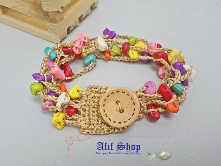SUPER SALE /Colorful Crochet Bracelet /Stones Bracelet /Boho Bracelet /Crochet…