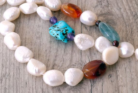 Pearl Necklace White Pearls & Gemstone Necklace by SunSanJewelry