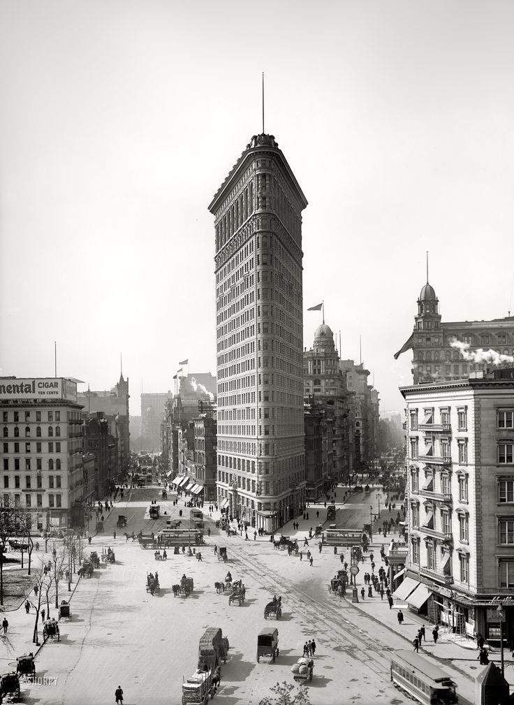 "New York circa 1903. ""The Flatiron Building."" Yet another view of this early skyscraper, from what seems to be the favored vantage."