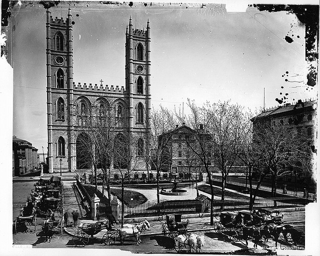 Place d'Armes and Notre Dame Church, Montreal, QC, 1876