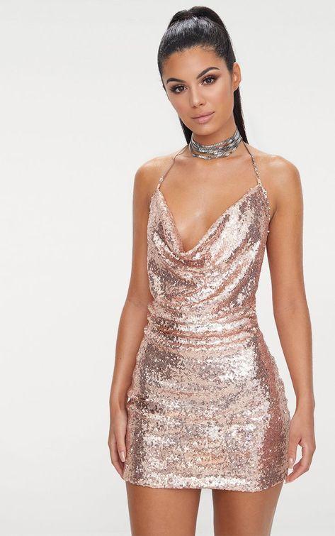 da541fdb53336 Rose Gold Sequin Chain Choker Mini Dress in 2019 | A . Designs | Rose gold sequin  dress, Dresses, Sequins