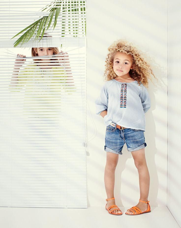 J.Crew Girls embroidered stripe tunic, cowgirl jean roll-up short. #childrenswear #curly