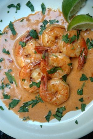 Barbara Adams Beyond Wonderful » Shrimp in Chipolte Cream Sauce Mexican Recipe..I would use fat-free half and half