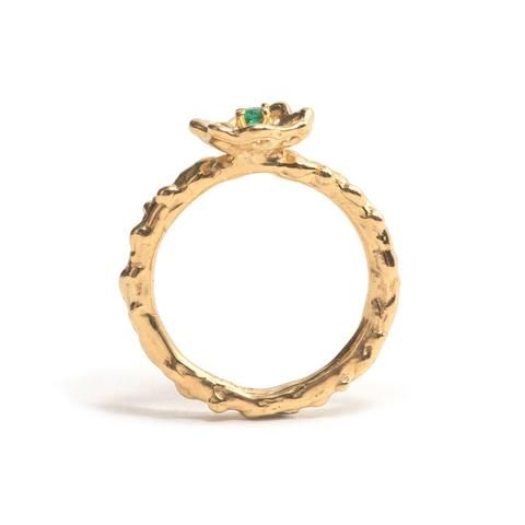 Yellow Gold and Emerald Cusp Ring by Luke Maninov Hammond for Beneath the Surface exhibition