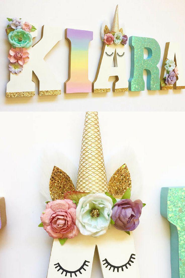 Unicorn Themed Letters - Home Decor - Party Decorations - Wood letters - Custom Letters #ad #unicornparty #unicorn #letters #alphabet #names #customized #etsyseller #etsyshop