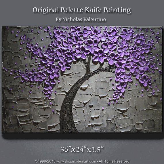Large 36 X24 Original Textured Impasto Painting On Gallery Canvas Blossom Tree