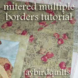 Mitered multiple borders tutorial - {quilting basics tutorial series} @ Jaybird Quilts: This is a quilt I made. The multiple refers to the small inner border and large outer border. I'm going to show you how to do both at once! Pay special attention to pressing as it is the key to how this works...