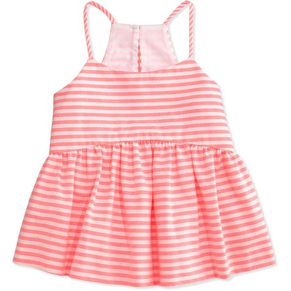 Milly Minis Striped Racerback Smocked Tank ($155) ❤ liked on Polyvore featuring tops, fluo pink, red racerback tank, racerback tank top, pink tank, spaghetti strap racerback tank and striped tank