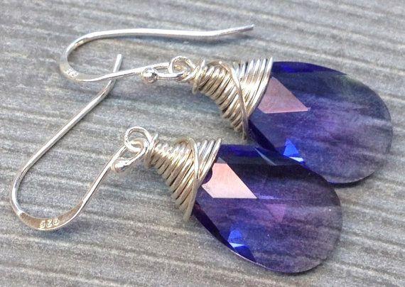 Swarovski crystal 925 sterling silver wire wrapped earrings by Emmalishop
