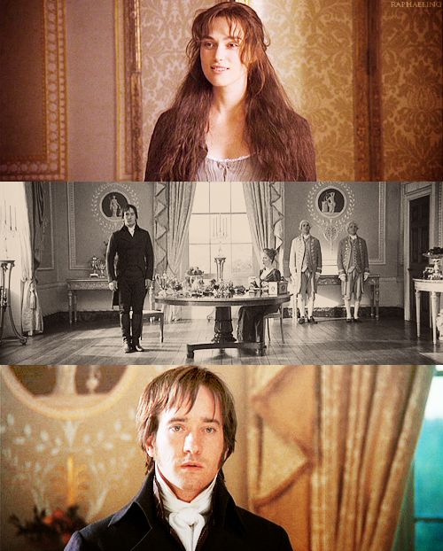Caroline Bingley: [Elizabeth enters the room, Darcy stands. Caroline is appalled] Good Lord, Miss Elizabeth. Did you walk here?  Elizabeth Bennet: I did. [long pause] Elizabeth Bennet: I'm so sorry. How is my sister? Mr. Darcy: She's upstairs. Elizabeth Bennet: [another pause; she smiles and curtseys] Thank you. [she leaves the room] Caroline Bingley: My goodness, did you see her hem? Six inches deep in mud. She looked positively mediaeval. Pride & Prejudice (2005) #janeausten #joewright