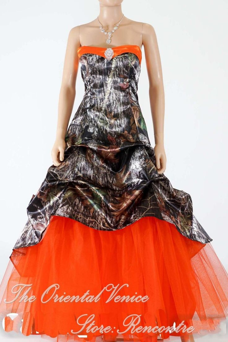 Hunter Orange Camo Wedding Dress 2016 New Realtree Camouflage Wedding Gowns Lace-up Back Bridal Dresses With Tull Train Vestidso de Novia