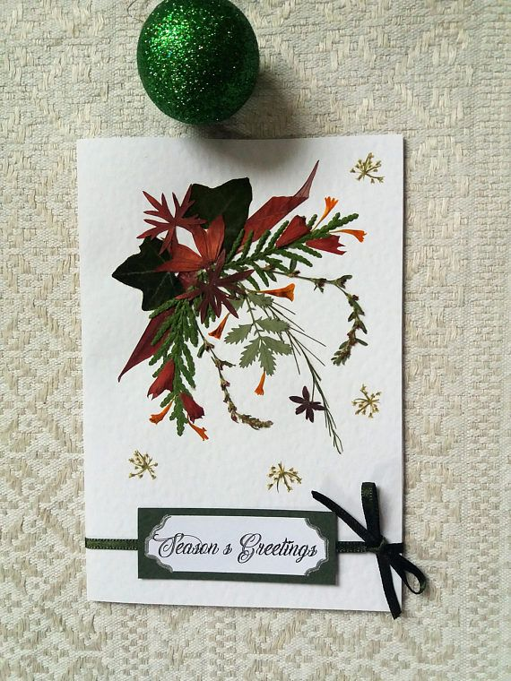 Unique handmade Christmas card. Pressed flower design card.