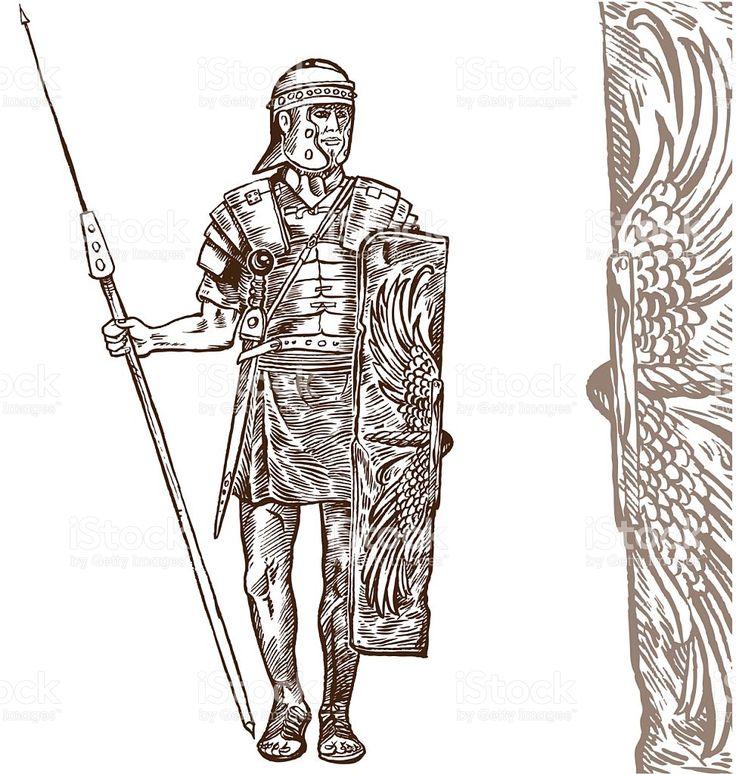 roman warrior hand draw royalty-free stock vector art