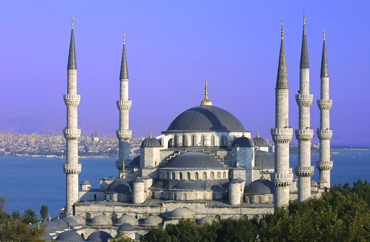 The Blue Mosque was commissioned by Sultan Ahmet I when he was only 19 years old. It was built near the Hagia Sophia, over the site of the ancient hippodrome and Byzantine imperial palace (whose mosaics can be seen in the nearby Mosaic Museum). Construction work began in 1609 and took seven years.  Found in IStanbul Turkey