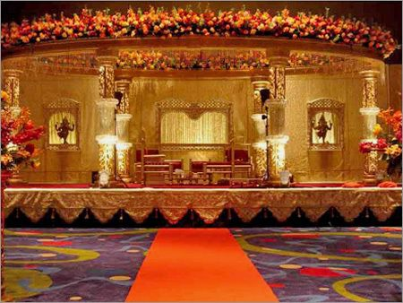 Large floral decorated mandap.