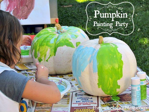 Fall Pumpkin Painting Party by The Sweet Spot Blog #october #halloween #kidscrafts