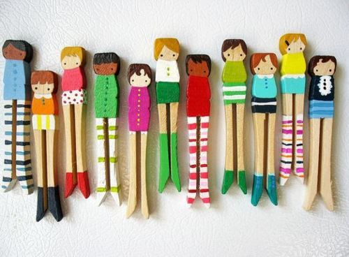 handmade wooden dolls (loving the striped pants). Another idea for Junior Girl Scout Amuse Journey.