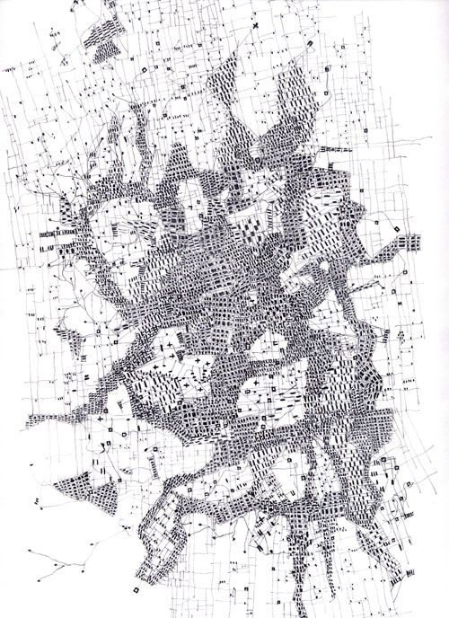 "The De-composed City : part of the ""Relational Cities"",  a set of drawings made by Fabio Alessandro Fusco 