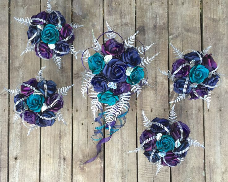 Paua bouquets with silver fern created by Flaxation.