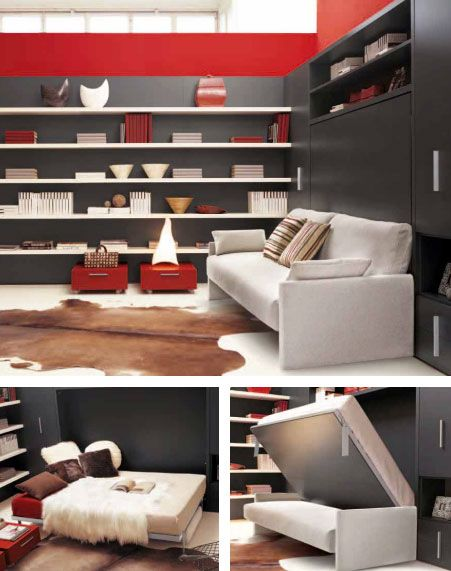 Circe Sofa wall bed is designed in Italy by Clei (this link has LOADS of  stylish space saving storage solutions