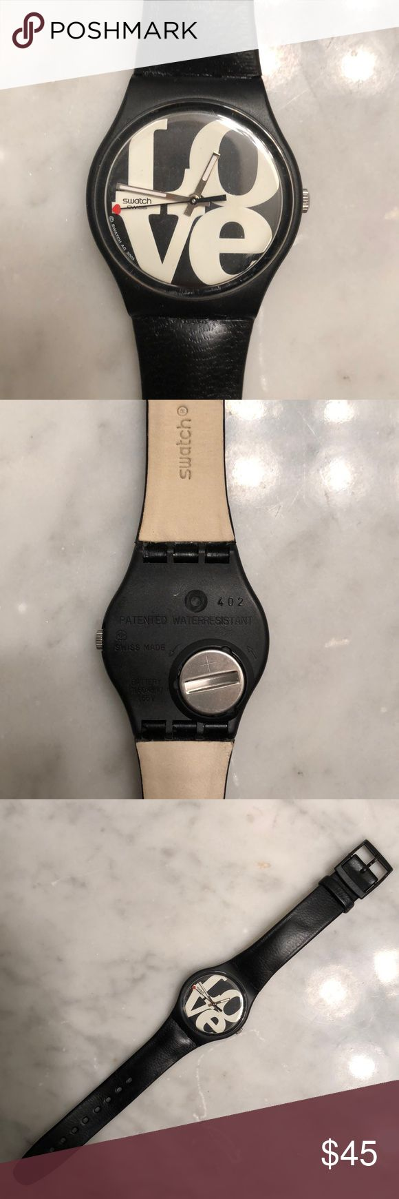 Swatch Watch- NWOT NWOT Tags Swatch Watch! Bought from NYC store. Never worn!  Black with white LOVE design on the face. (Needs a battery) Smoke free, pet free- Ships in 24 hours! Swatch Accessories Watches