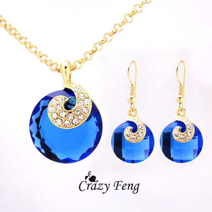 Women's 18k Gold Filled Blue Sapphire Austrian Crystal Jewelry Set