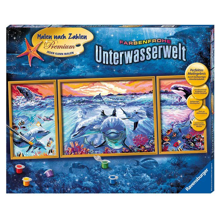 Schilder de indrukwekkende onderwaterwereld op nummer; vanaf 12 jaar. Het schilderij bestaat uit drie panelen van 20x50 cm, 40x50 cm en 20x50 cm. Afmeting: 80 x 50 cm - Schilderen op Nummer - Onderwaterwereld