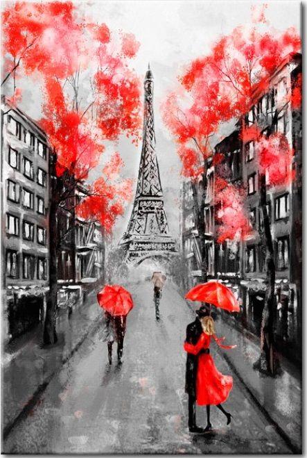 Zakochałeś się w Paryżu? To obraz dla Ciebie! Czy może być romantyczniejszy widok, niż czerwone parasolki na tle wieży Eiffle'a?