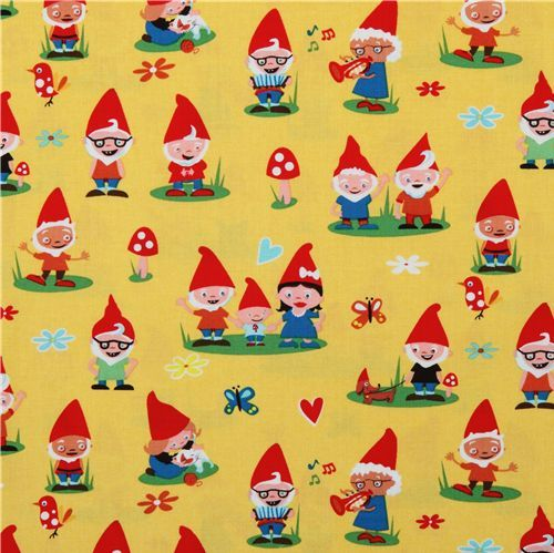 Michael Miller Material | Michael Miller fabric Gnoming Around gnomes friends 2