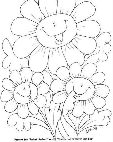 Happy flowers adult coloring coloring pages colouring craft art templates digi stamps clip art spring