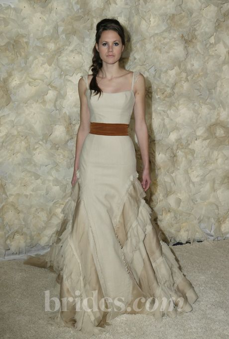 """Brides.com: . """"Tay"""" sleeveless A-line wedding dress with fluttered spaghetti straps and raw-edge ivory and champagne layered skirt, Tara LaTour  See more Tara LaTour wedding dresses in our gallery."""