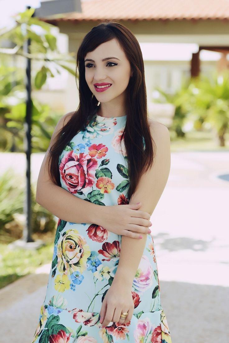 look vestido estampado she in floral colorido sandalia pedras candy colors  cute look dress fashion blogger floral shoes
