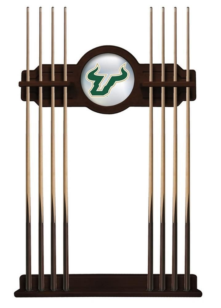 South Florida USF Bulls Cue Rack Wall Mounted Wood Rack