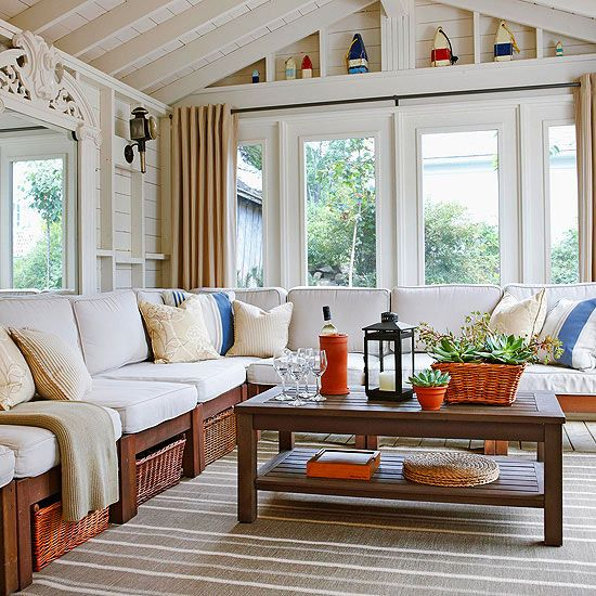 Coastal cottage in Nova Scotia. Note all the storage under the seats. Love the buoy collection displayed within the upper box beams. Give me all those windows too.  Mod Vintage Life: Open House Sunday