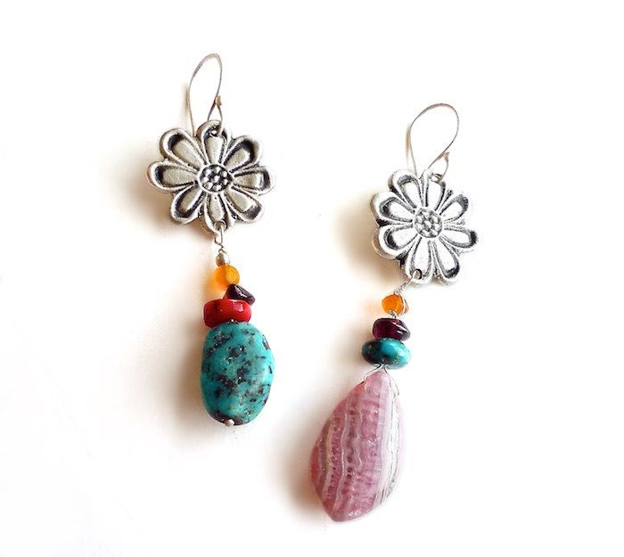 Turquoise and Rhodochrosite Flower Earrings - Mismatched Earrings 10 & 330 of 365 for EAD2015 by Maria Apostolou