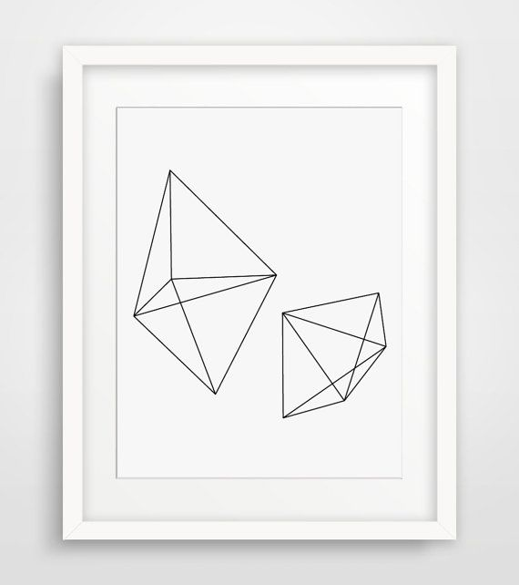 BEST SELLER!    INSTANT DOWNLOAD: Minimalist geometric wireframe prism printable artwork, black and white. ===      Print out this modern wall