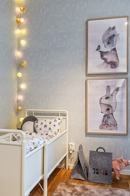 artwork, lights and the perfect tiny bed. #estella #kids #decor