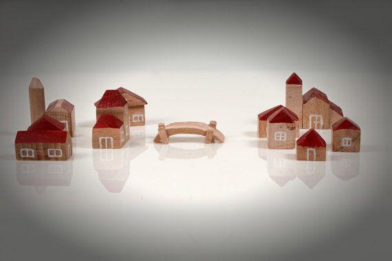 Wooden miniature houses  Set of 11pcs 3D houses  by beigebois, €7.00