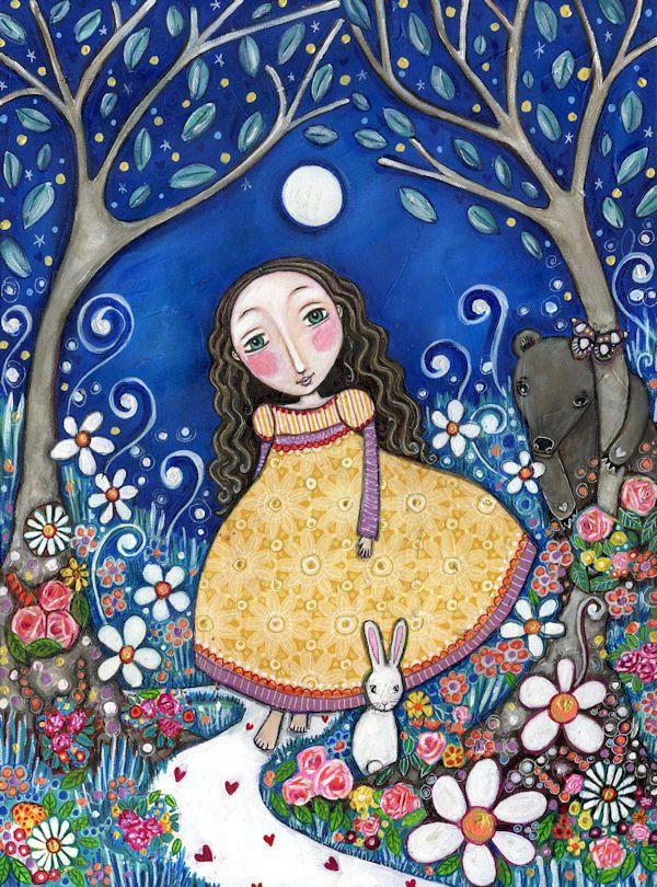 """Girl bear rabbit art print secret garden girls room art nursery wall whimsical folk art painting forest woodland animals -  """"Secret Garden"""". $20.00, via Etsy."""