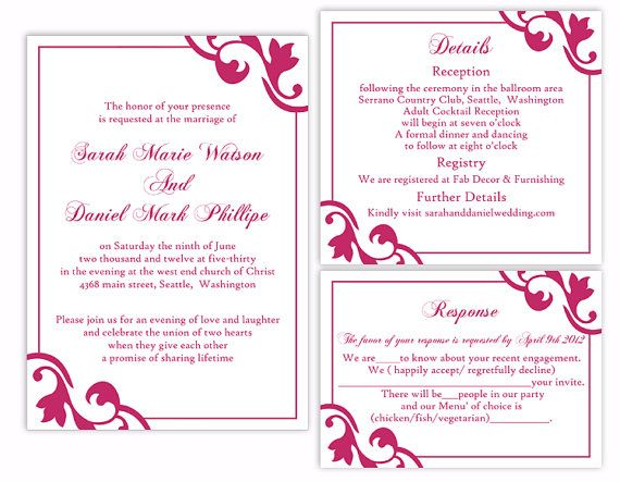 DIY Wedding Invitation Template Set Download Printable Invitation Fuchsia Wedding Invitation Hot Pink Invitation by TheDesignsEnchanted on Etsy