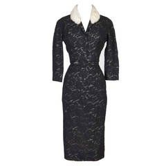 Pierre Balmain Haute Couture 1950s Lace Dress and Jacket with Mink Collar