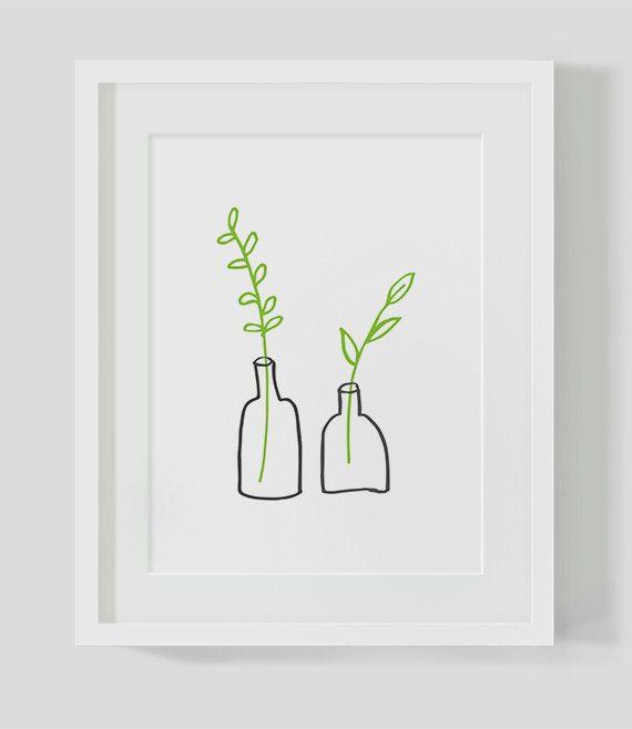 Minimalist Small Plants INSTANT DOWNLOAD Illustration Art, Green Printables, Minimalist, Illustration Artwork, Digital Art