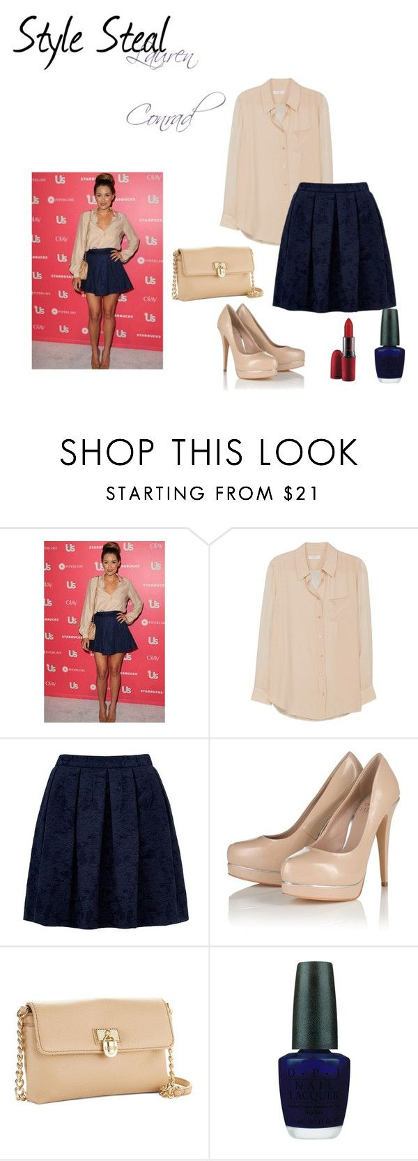 """""""Style Steal - Lauren Conrad"""" by jessica-designs ❤ liked on Polyvore featuring Paper Crown, Equipment, Forever New, Lipsy, Calvin Klein, OPI and MAC Cosmetics"""