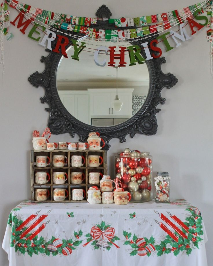 1. make flag banner 2. idea for displaying our santa mug collection 3. cookie jar full of ornaments/cookie cutters * photo credit Whatever blog by Meg Duerksen *