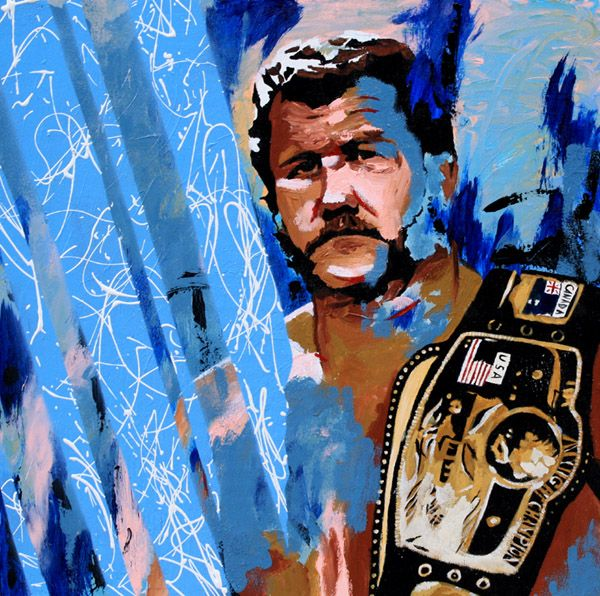 Acrylic and spray paint on 24″ x 24″ wood    In Kansas City, Harley Race is possibly the most respected and revered wrestler in the city's history. He was a co-owner of the Central States territory with Bob Geigel and Pat O'Connor and an eight-time world heavyweight champion, battling a who's who of wrestling luminaries. Today, he owns and runs the country's pre-eminent wrestling school, training wrestlers who have gone on to main event for WWE, TNA, Ring of Honor and in Japan.  l #WWE