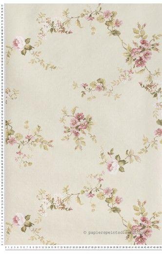 Fleurs roses fond beige papier peint lut ce j 39 aime - Pinterest papier peint ...