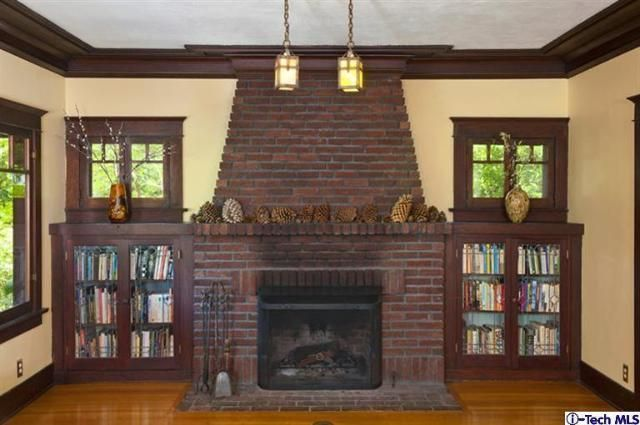 1000 images about fireplace flanked by built in bookcases for Craftsman fireplaces photos