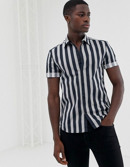 7fd99a2b561c New Look muscle fit shirt in navy stripe in 2019 | Fashion | Shirts ...