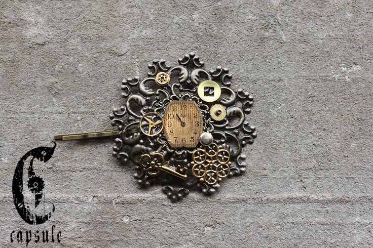 Steampunk Victorian Bronze Hair Pin with real Antique Watch Dial, Gears and Parts and a Golden Key by CapsuleCreations on Etsy